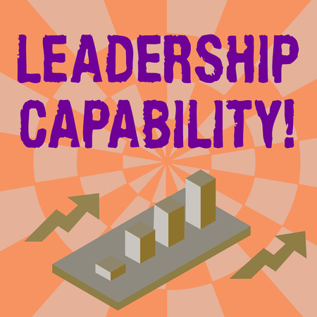 Word writing text Leadership Capability. Business photo showcasing ability to influence to lead others successfully Colorful Clustered 3D Bar Chart Graph Diagram in Perspective with Two Arrows