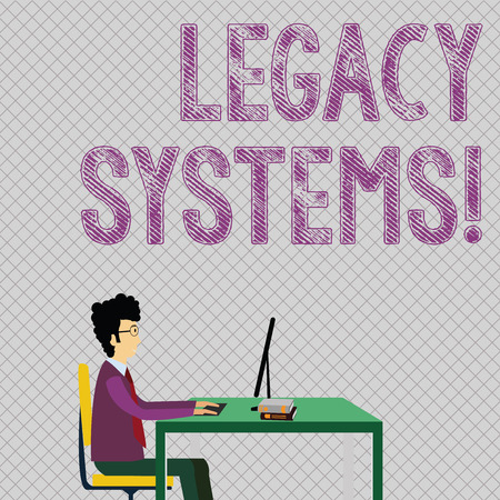 Photo pour Conceptual hand writing showing Legacy Systems. Concept meaning old method technology computer system or application program Businessman Sitting on Chair Working on Computer and Books - image libre de droit