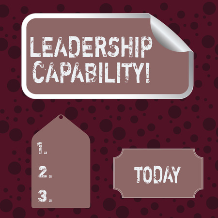 Conceptual hand writing showing Leadership Capability. Concept meaning ability to influence to lead others successfully Color Label Self Adhesive Sticker with Border Corner and Tag