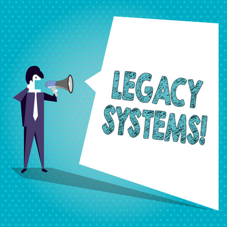 Photo pour Text sign showing Legacy Systems. Business photo text old method technology computer system or application program Businessman Shouting on Megaphone and Blank White Uneven Shape Speech Bubble - image libre de droit