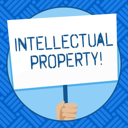 Photo for Text sign showing Intellectual Property. Business photo text Ownership of an idea or design by the demonstrating Hand Holding Blank White Placard Supported by Handle for Social Awareness - Royalty Free Image