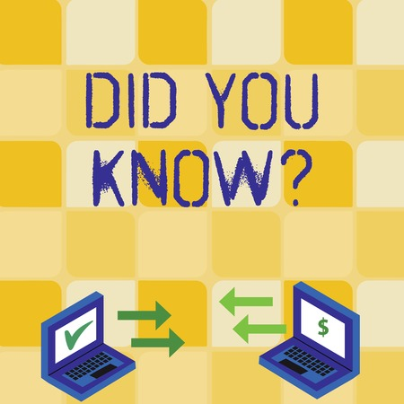 Foto de Handwriting text writing Did You Know Question. Conceptual photo when you are asking someone if they know fact or event Exchange Arrow Icons Between Two Laptop with Currency Sign and Check Icons - Imagen libre de derechos