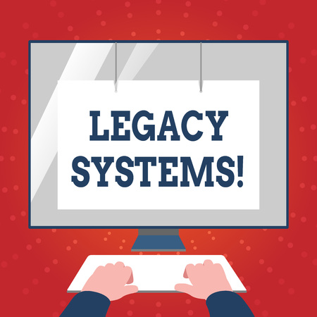 Photo pour Writing note showing Legacy Systems. Business concept for old method technology computer system or application program Hands on Keyboard Front White Monitor with Screen Protector - image libre de droit