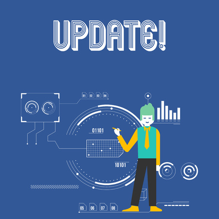 Handwriting text UPDATE. Conceptual photo make something more modern or up to date like software program Man Standing Holding Pen Pointing to Chart Diagram with SEO Process Icons