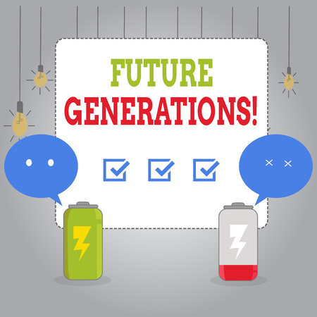 Writing note showing Future Generations. Business concept for generations to come after the currently living generation Fully Charge and Discharge Battery with Emoji Speech Bubble