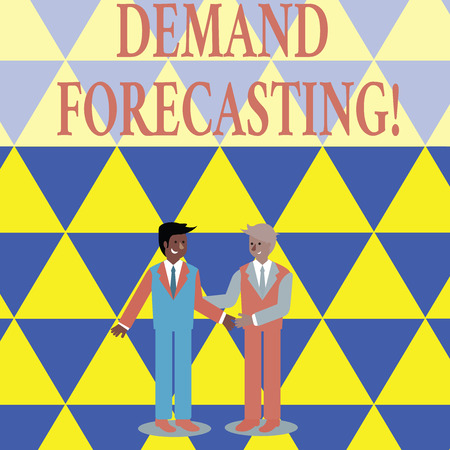 Photo for Text sign showing Deanalysisd Forecasting. Business photo showcasing predict customer deanalysisd to optimize supply decisions Two Businessmen Standing, Smiling and Greeting each other by Handshaking - Royalty Free Image