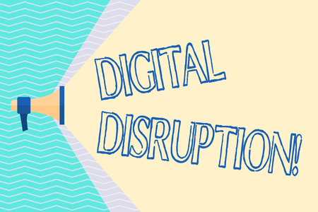 Conceptual hand writing showing Digital Disruption. Concept meaning transformation caused by emerging digital technologies Megaphone Extending Capacity of Volume Range thru Wide Beam