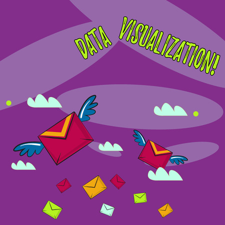 Photo pour Word writing text Data Visualization. Business photo showcasing representation of information in the form of a chart Many Colorful Airmail Flying Letter Envelopes and Two of Them with Wings - image libre de droit