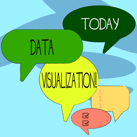 Photo pour Handwriting text writing Data Visualization. Conceptual photo representation of information in the form of a chart Many Color Speech Bubble in Different Sizes and Shade for Group Discussion - image libre de droit