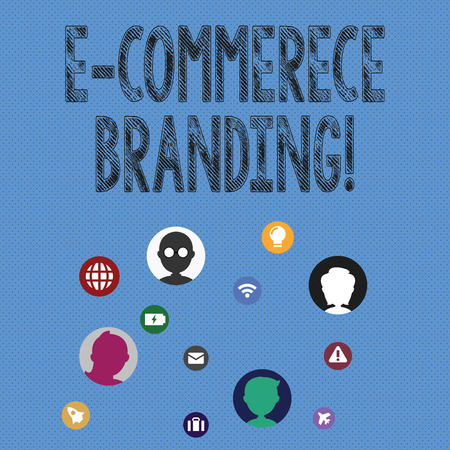 Writing note showing E Commerce Branding. Business concept for establish an image of your company in ycustomers eyes Networking Technical Icons Chat Heads on Screen for Link Up