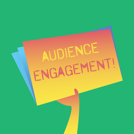 Foto de Text sign showing Audience Engagement. Business photo showcasing active involvement of an audience in a live broadcast Hand Holding and Raising Blank Space Colorful File Folder with Sheet Inside - Imagen libre de derechos