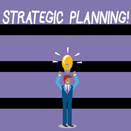 Photo pour Writing note showing Strategic Planning. Business concept for systematic process of envisioning a desired future Businessman Raising Arms Upward with Lighted Bulb icon above - image libre de droit