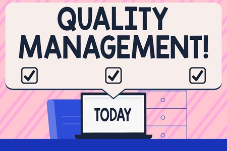 Photo pour Conceptual hand writing showing Quality Management. Concept meaning overseeing and maintain a desired level of excellence Blank Huge Speech Bubble Pointing to the White Laptop Screen - image libre de droit