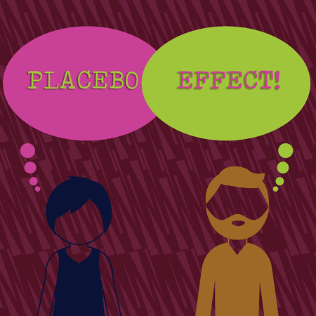 Text sign showing Placebo Effect. Business photo text a beneficial effect produced by a placebo drug or treatment Bearded Man and Woman Faceless Profile with Blank Colorful Thought Bubble