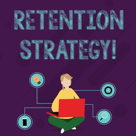 Writing note showing Retention Strategy. Business concept for activities to reduce employee turnover and attrition Woman Sitting with Crossed Legs on Floor Browsing the Laptop