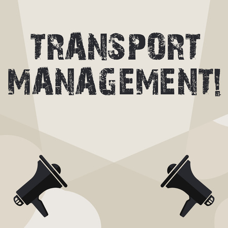 Conceptual hand writing showing Transport Management. Concept meaning analysisaging aspect of vehicle maintenance and operations Spotlight Crisscrossing Upward from Megaphones on the Floor