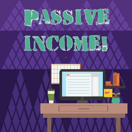Writing note showing Passive Income. Business concept for the earnings derived from a rental property and others photo of Interior Working Space Station Concept of Technical Person