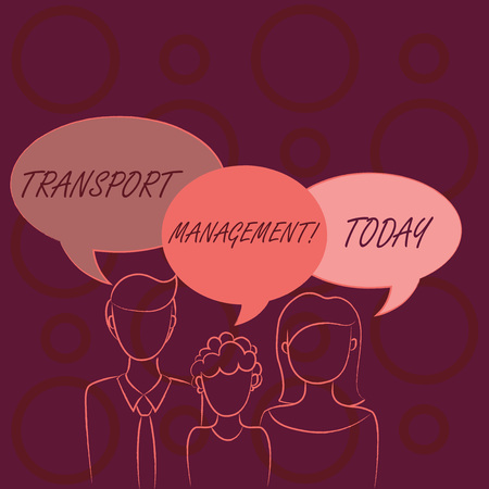 Word writing text Transport Management. Business photo showcasing analysisaging aspect of vehicle maintenance and operations Family of One Child Between Father and Mother and Their Own Speech Bubble