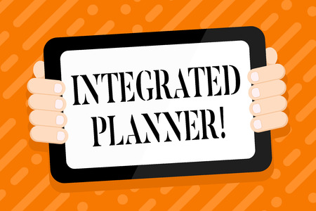 Photo pour Conceptual hand writing showing Integrated Planner. Concept meaning translating desired business outcomes into financial Color Tablet Smartphone with Screen Handheld Back of Gadget - image libre de droit