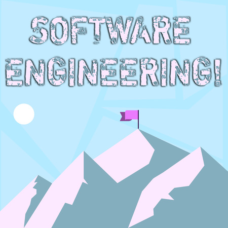 Word writing text Software Engineering. Business photo showcasing apply engineering to the development of software Mountains with Shadow Indicating Time of Day and Flag Banner on One Peak