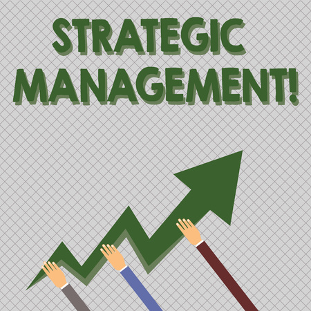 Photo pour Conceptual hand writing showing Strategic Management. Concept meaning formulation and implementation of the major goals Hands Holding Zigzag Lightning Arrow Pointing and Going Up - image libre de droit