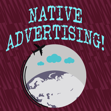 Photo pour Text sign showing Native Advertising. Business photo text paid media where the ad experience follows the usual form Airplane with Moving Icon Flying Around Colorful Globe and Blank Text Space - image libre de droit