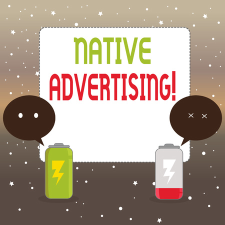 Photo pour Handwriting text writing Native Advertising. Conceptual photo paid media where the ad experience follows the usual form Fully Charged and Discharged Battery with Two Colorful Emoji Speech Bubble - image libre de droit