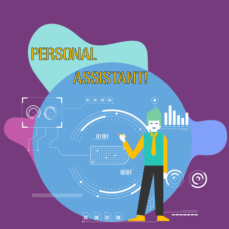 Conceptual hand writing showing Personal Assistant. Concept meaning administrative assistant working exclusively for a demonstrating Man Holding Pen Pointing to Chart Diagram SEO Process Icons