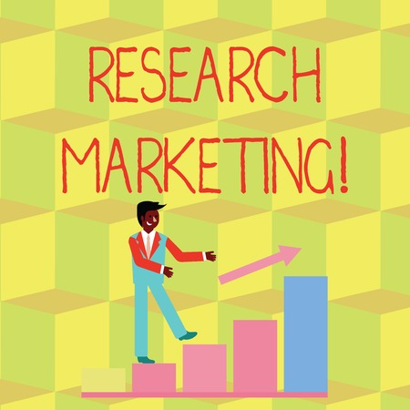 Handwriting text Research Marketing. Conceptual photo process of gathering and interpreting info about a market Smiling Businessman Climbing Colorful Bar Chart Following an Arrow Going Up