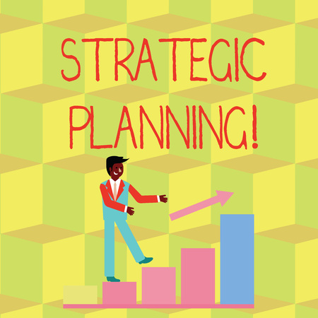 Photo pour Handwriting text Strategic Planning. Conceptual photo systematic process of envisioning a desired future Smiling Businessman Climbing Colorful Bar Chart Following an Arrow Going Up - image libre de droit