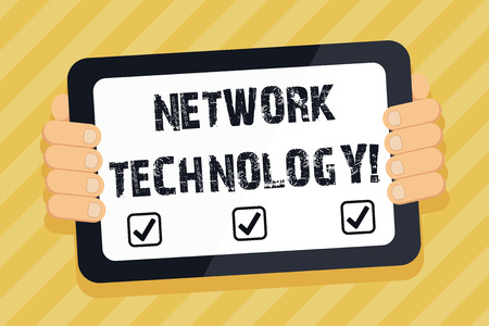 Text sign showing Network Technology. Business photo text transmit data digitally through information systems Color Tablet Smartphone with Blank Screen Handheld from the Back of Gadget