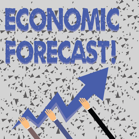 Word writing text Economic Forecast. Business photo showcasing attempting to predict the future condition of the economy Three Hands Holding Colorful Zigzag Lightning Arrow Pointing and Going Up