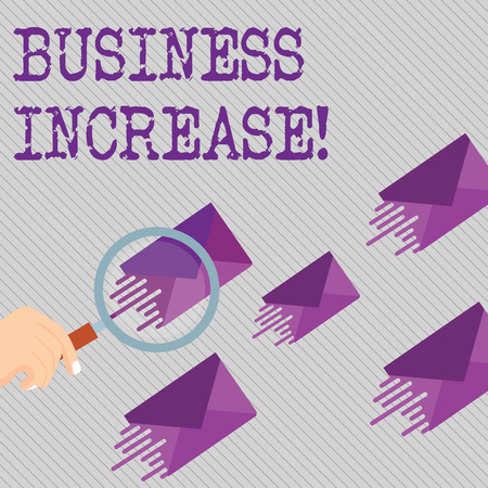 Conceptual hand writing showing Business Increase. Concept meaning improving some measure of an enterprise s is success Magnifying Glass on Color Envelope and others has Same Shade