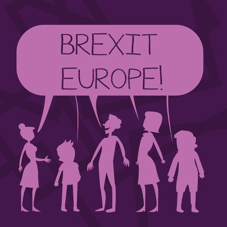 Text sign showing Brexit Europe. Business photo showcasing possibility of Britain withdrawing from the European Union Silhouette Figure of People Talking and Sharing One Colorful Speech Bubble