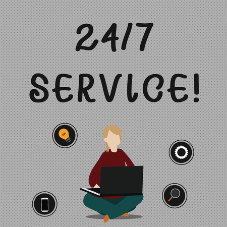 Photo for Conceptual hand writing showing 24 Or 7 Service. Concept meaning service that is available any time and usually every day Woman Sitting with Crossed Legs on Floor Browsing the Laptop - Royalty Free Image