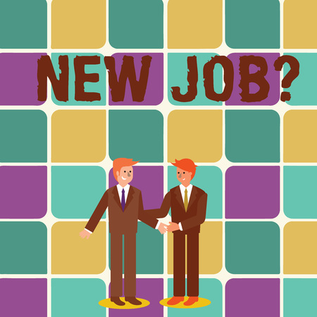 Photo for Text sign showing New Job Question. Business photo showcasing formal meeting which someone asked find out if they are suitable Two Businessmen Standing, Smiling and Greeting each other by Handshaking - Royalty Free Image