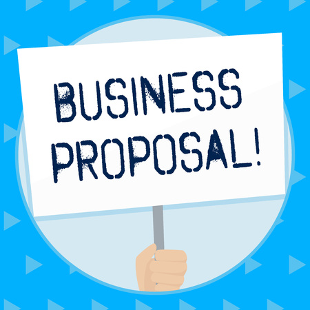 Word writing text Business Proposal. Business photo showcasing written offer from a seller to a prospective buyer Hand Holding Blank White Placard Supported by Handle for Social Awareness