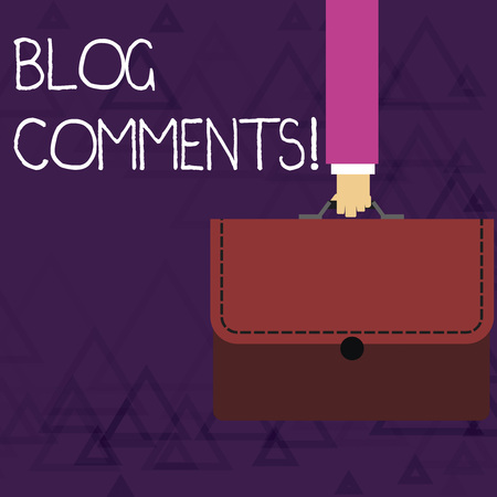 Writing note showing Blog Comments. Business concept for Space at the end of each post for a reader to leave a comment Businessman Carrying Colorful Briefcase Portfolio Applique