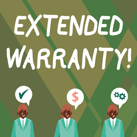 Word writing text Extended Warranty. Business photo showcasing contract which gives a prolonged warranty to consumers Businessmen Each has their Own Speech Bubble with Optimization Cost Icons