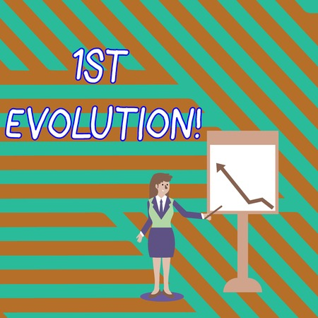 Word writing text 1St Evolution. Business photo showcasing Change in the genetic features of biological populations Businesswoman Holding Stick Pointing to Chart of Arrow Upward on Whiteboard