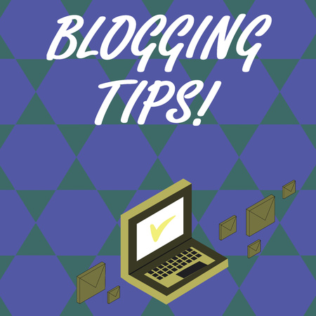 Foto de Handwriting text Blogging Tips. Conceptual photo Ideas on how improve the discussion or informational website Color Mail Envelopes around Laptop with Check Mark icon on Monitor Screen - Imagen libre de derechos