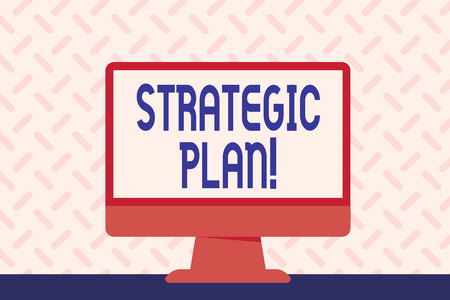 Photo pour Text sign showing Strategic Plan. Business photo showcasing analysisagement activity that is used to set and focus priorities Blank Space Desktop Computer Colorful Monitor Screen Freestanding on Table - image libre de droit