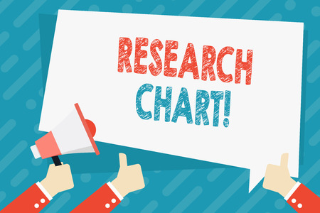 Photo pour Text sign showing Research Chart. Business photo showcasing it represents a set of numerical or qualitative data Hand Holding Megaphone and Other Two Gesturing Thumbs Up with Text Balloon - image libre de droit