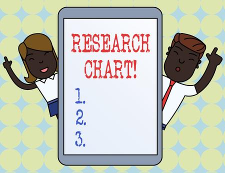 Photo pour Writing note showing Research Chart. Business concept for it represents a set of numerical or qualitative data - image libre de droit