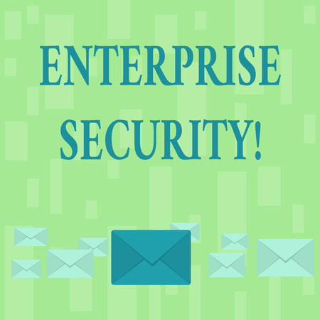 Handwriting text Enterprise Security. Conceptual photo decreasing the risk of unauthorized access to data Pastel Color Closed Envelopes in Different Sizes with Big one in the Middle