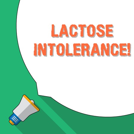 Photo pour Word writing text Lactose Intolerance. Business photo showcasing digestive problem where body is unable to digest lactose Huge Blank White Speech Bubble Occupying Half of Screen and Small Megaphone - image libre de droit