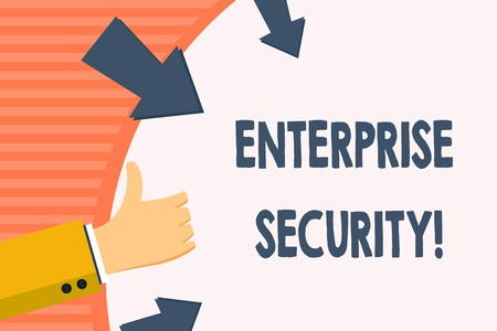 Word writing text Enterprise Security. Business photo showcasing decreasing the risk of unauthorized access to data Hand Gesturing Thumbs Up and Holding on Blank Space Round Shape with Arrows