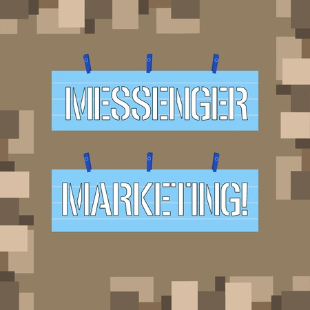 Conceptual hand writing showing Messenger Marketing. Concept meaning act of marketing to your customers using a messaging app Strip Size Lined Paper Sheet Hanging Using Blue Clothespin