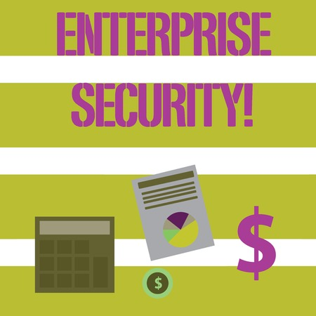 Text sign showing Enterprise Security. Business photo text decreasing the risk of unauthorized access to data Computing Dollar Investment in Gold and Presenting Data thru Pie Chart Graph