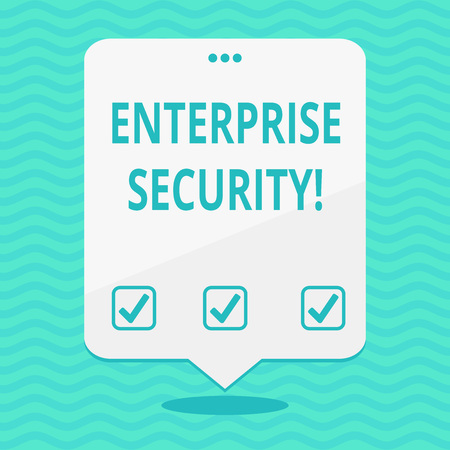 Text sign showing Enterprise Security. Business photo showcasing decreasing the risk of unauthorized access to data Blank Space White Speech Balloon Floating with Three Punched Holes on Top